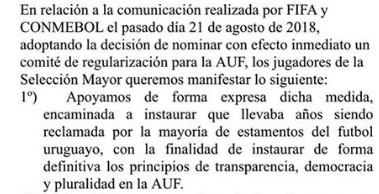 Carta de los jugadores de la selección de uruguay